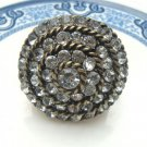 Size 8.1 Antique Brass Crystal Flower Ring