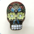 Adjustable Size 6.3-7.3 Antique Brass Skull Ring