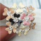 Size 7.8 Silver Plated Swarovski Crystal Flower Ring Vintage Style
