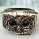 Sizse 6 Elegant Silver Plated Crystal Eye Owl design Ring