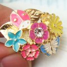 Sizse 6.7 Retro Brass Crystal Flower Beetle Butterfly design Ring