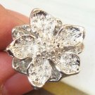 Sizse 6.5 Silver Plated Retro Brass Flower design Ring