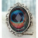 Stretch Silver Plated Peacock Leather design Ring