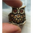Sizse 6 Elegant Brass Crystal Eye Owl design Ring