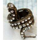 Sizse 6.3 Elegant Brass Crystal Snake design Ring