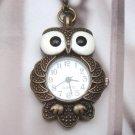 Retro Brass Owl Pocket Watch Pendant Necklace