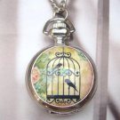 Silver Plated Brass Bird Locket Pocket Watch Pendant Necklace