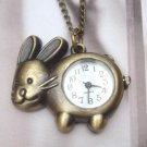 Retro Brass Rabbit Pocket Watch Pendant Necklace