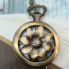 Large Retro Brass Rotating Flower Locket Pocket Watch Pendant Necklace