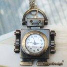 Retro Copper Robot Pocket Watch Necklace Pendant VINTAGE Style