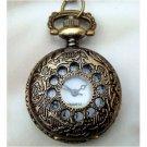Retro Copper Elephant Pocket Watch Necklace Pendant Vintage Style