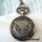 Retro Copper Owl Head Big Eyes Pocket Watch Necklace Vintage Style