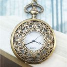 Retro Brass Fillagree Pocket Watch Locket Necklace Vintage Style