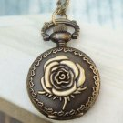 Retro Brass Flower Locket Pocket Watch Pendant Necklace