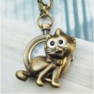 Retro Brass Cat Pocket Watch Locket Pendant Necklace Vintage Style