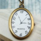 Retro Brass Oval Pocket Watch Pendant Necklace