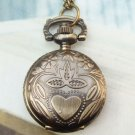 Retro Brass Nature Locket Pocket Watch Pendant Necklace