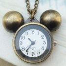 Retro Copper Micky Pocket Watch Necklace Pendant Vintage Style