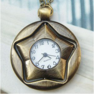 Retro Copper Rotating Star Pocket Watch Necklace Pendant Vintage Style