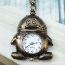 Retro Copper Penguin Pocket Watch Necklace Pendant Vintage Style
