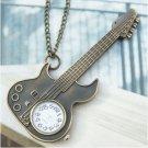 Retro Copper Guitar Pocket Watch Necklace Pendant VINTAGE Style