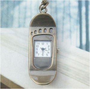 Retro Copper Skateboard Pocket Watch Necklace Pendant VINTAGE Style