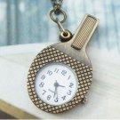 Retro Copper Table-tennis Bat Pocket Watch Necklace VINTAGE Style
