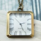 Retro Copper Square Pocket Watch Necklace Pendant VINTAGE Style