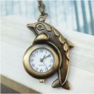 Retro Copper Dolphin Pocket Watch Necklace Pendant VINTAGE Style