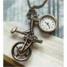Retro Brass Bike Pocket Watch Pendant Necklace