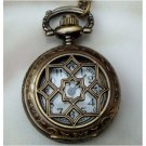 Retro Copper Window Grille Pocket Watch Necklace Pendant VINTAGE Style
