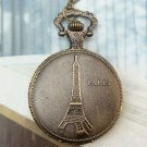 Large Retro Brass Eiffel Tower Locket Pocket Watch Pendant Necklace