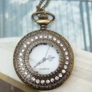 Large Retro Brass Starry Crystal Locket Pocket Watch Pendant Necklace