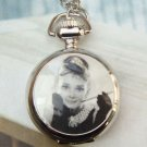 Silver Plated hepburn Memory Locket Pocket Watch Pendant Necklace
