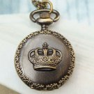 Retro Brass Crown Locket Pocket Watch Pendant Necklace