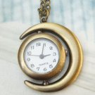 Retro Brass Moon Pocket Watch Pendant Necklace