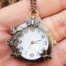 Retro Brass Butterfly Pocket Watch Pendant Necklace