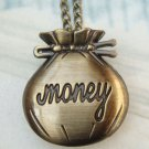 Retro Brass Money Bag Locket Pocket Watch Pendant Necklace