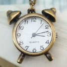Retro Brass Clock Pocket Watch Pendant Necklace
