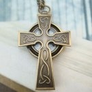 Retro Brass Cross Locket Pocket Watch Pendant Necklace