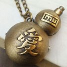 Retro Brass Love Gourd Pocket Watch Pendant Necklace