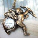 Retro Brass Cupid Pocket Watch Pendant Necklace