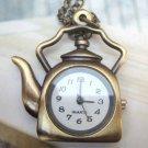 Retro Brass Teapot Pocket Watch Pendant Necklace