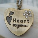 Retro Brass Heart Pocket Watch Locket Pendant Necklace