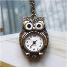 Retro Brass Owl Pocket Watch Pendant Necklace