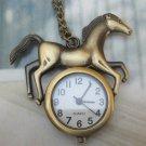 Retro Brass Horse Pocket Watch Pendant Necklace