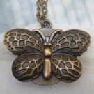 Retro Brass Butterfly Pocket Watch Locket Pendant Necklace