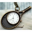 Retro Brass Tennis Bat Pocket Watch Pendant Necklace
