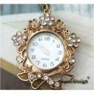 Retro Brass Flower Pocket Watch Necklace