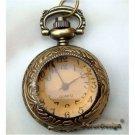 Retro Copper Smoky Quartz Locket Pocket Watch Necklace Vintage Style